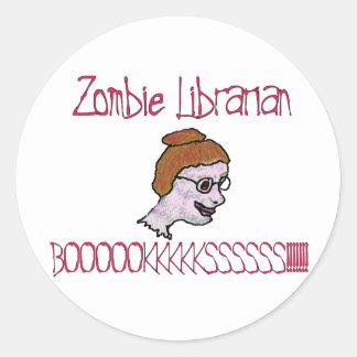 Zombie Librarian Round Sticker