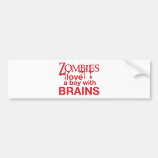 Zombie love a boy with brains car bumper sticker