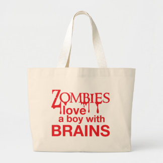 Zombie love a boy with brains large tote bag