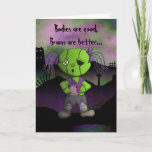 Zombie Love Bodies Brains and hearts Valentine Holiday Card