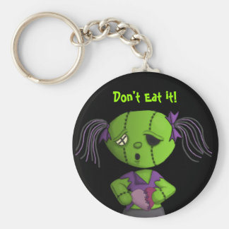 Zombie love cute dolly stitched heart maully basic round button keychain
