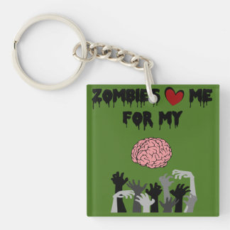 Zombie Love Double-Sided Square Acrylic Keychain