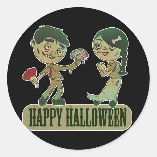Zombie Love, Happy Holloween Classic Round Sticker