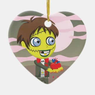 Zombie Love Double-Sided Heart Ceramic Christmas Ornament