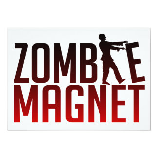 ZOMBIE MAGNET invitation, customize Card