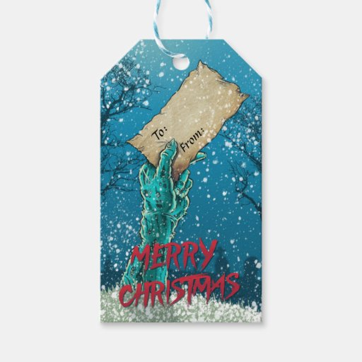 Zombie Merry Christmas Holiday Pack Of Gift Tags