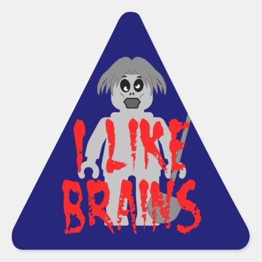 Zombie Minifig 'I Like Brains' Triangle Sticker