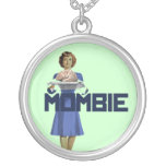 Zombie Mom Round Pendant Necklace