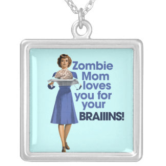 Zombie Mom Silver Plated Necklace