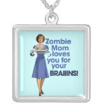 Zombie Mom Square Pendant Necklace