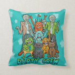 Zombie Monster Party Crew Throw Pillow