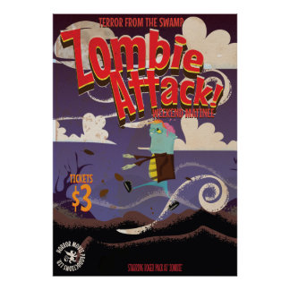 Zombie Movie Vintage Travel Poster