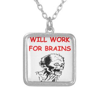 zombie square pendant necklace