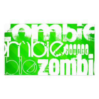 Zombie; Neon Green Stripes Double-Sided Standard Business Cards (Pack Of 100)