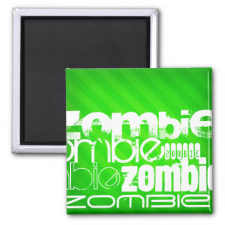 Zombie; Neon Green Stripes 2 Inch Square Magnet