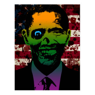 Zombie Obama Bloody Flag Postcard