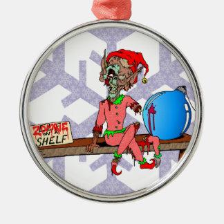 Zombie on a Shelf Metal Ornament