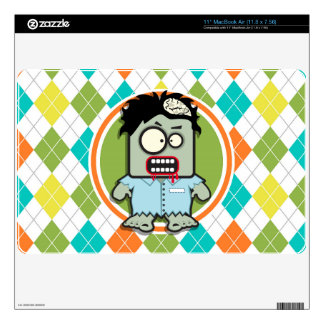 Zombie on Colorful Argyle Pattern MacBook Air Skins