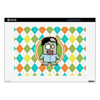 """Zombie on Colorful Argyle Pattern Skin For 15"""" Laptop"""