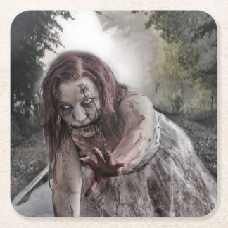 Zombie on the Tracks Square Paper Coaster