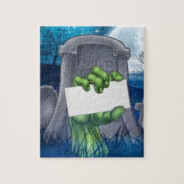 Halloween Themed Zombie or Halloween Monster Sign Jigsaw Puzzle