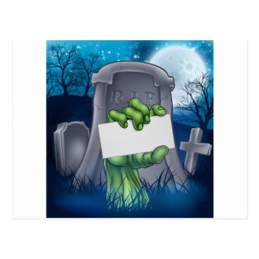 Halloween Themed Zombie or Halloween Monster Sign Postcard