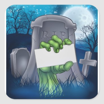 Halloween Themed Zombie or Halloween Monster Sign Square Sticker