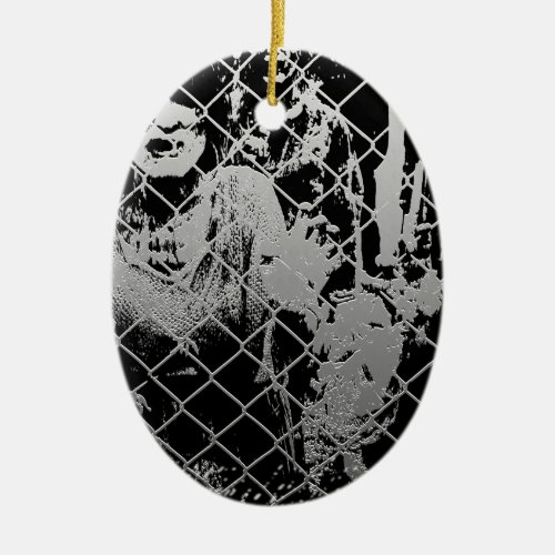 Zombie Double-Sided Oval Ceramic Christmas Ornament
