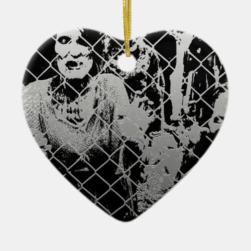 Zombie Double-Sided Heart Ceramic Christmas Ornament