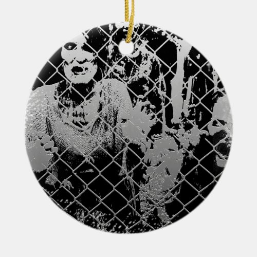 Zombie Double-Sided Ceramic Round Christmas Ornament