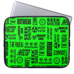 Zombie, Outbreak, Biohazard Black & Neon Green Laptop Computer Sleeves