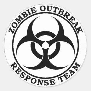 biohazard stickers zazzle Radioactive Halloween zombie outbreak response team biohazard classic round sticker