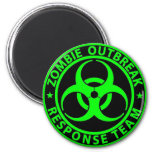 Zombie Outbreak Response Team Neon Green 2 Inch Round Magnet