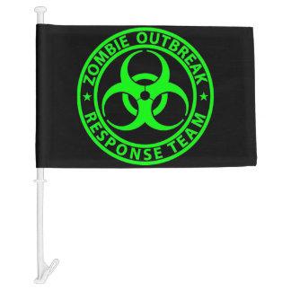 Zombie Outbreak Response Team Neon Green Car Flag