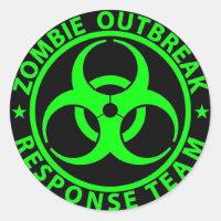 Zombie Outbreak Response Team Neon Green Classic Round Sticker