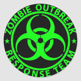 Zombie Outbreak Response Team Neon Green Classic Round Sticker