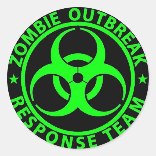 Zombie Outbreak Response Team Neon Green Classic Round Sticker ...