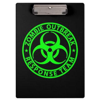 Zombie Outbreak Response Team Neon Green Clipboard