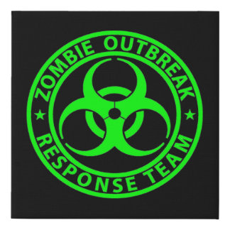 Zombie Outbreak Response Team Neon Green Faux Canvas Print