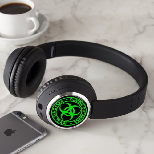 Zombie Outbreak Response Team Neon Green Headphones