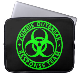 Zombie Outbreak Response Team Neon Green Laptop Sleeve