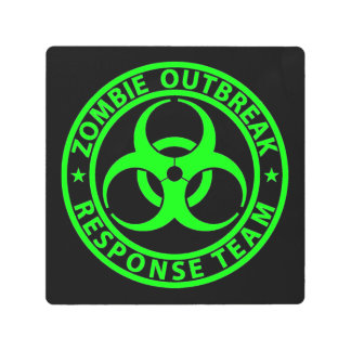 Zombie Outbreak Response Team Neon Green Metal Photo Print
