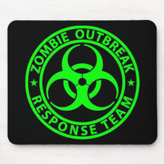 Zombie Outbreak Response Team Neon Green Mouse Pad