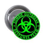 Zombie Outbreak Response Team Neon Green Pinback Button