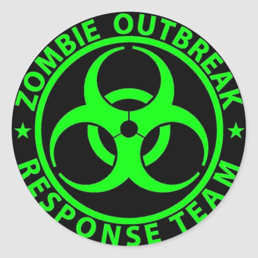 Zombie Outbreak Response Team Neon Green Round Sticker