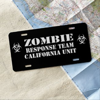 Zombie Outbreak Response Team Personalized License Plate