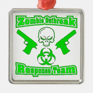Zombie Outbreak Response Team Square Metal Christmas Ornament