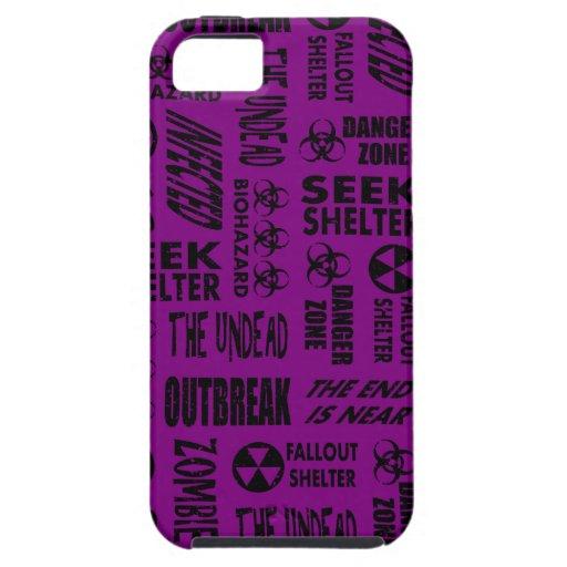 Zombie, Outbreak, Undead, Biohazard Black & Purple iPhone 5 Cover