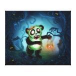 Zombie Panda Halloween Forest Canvas Print
