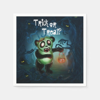 Zombie Panda Halloween Forest Paper Napkin